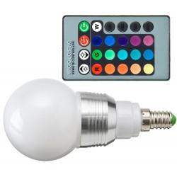 Żarówka E14 LED RGB 5W Kulka + pilot
