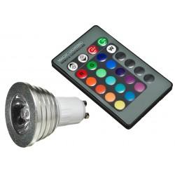 Żarówka E14 RGB 3W Power LED + Pilot IR